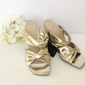 ZARA Gold Strappy High Heel Sandals